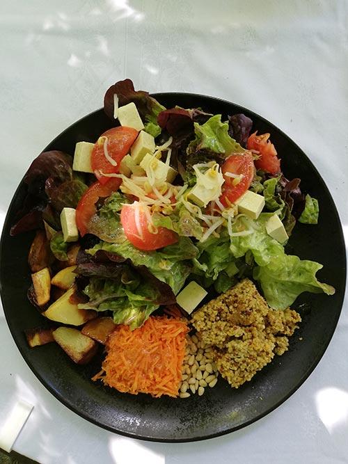 Salade composée vegan pour un brunch au chateau de chaulnes à Grenoble